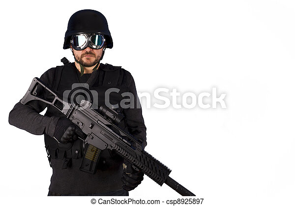 Defense against terrorism,Armed policeman isolated on white - csp8925897