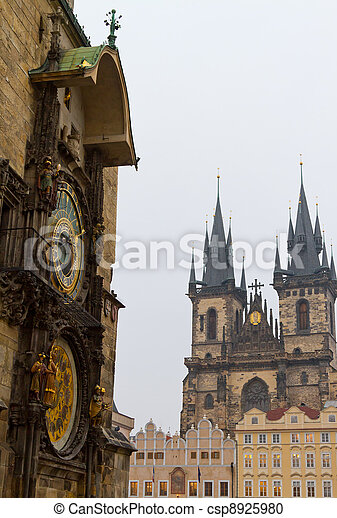 Church of Our Lady before Tyn and Astronomical Clock, Prague, Czech Republic - csp8925980