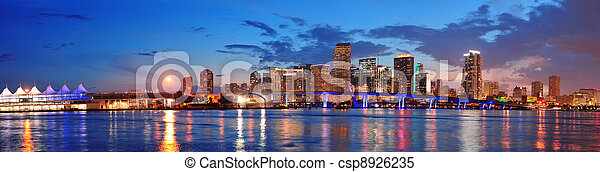 Miami night scene - csp8926235