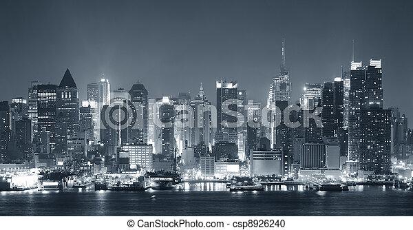 cidade, pretas,  York,  nigth, Novo, branca - csp8926240