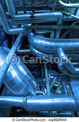 Industrial zone, installation of Steel pipelines and cables in blue tones - csp8926944