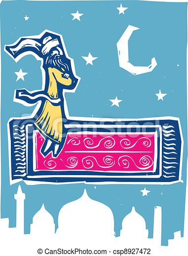 Vector illustration of flying carpet color man on flying for Flying carpet logo