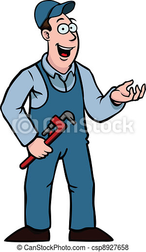 Plumber with wrench showing something - csp8927658