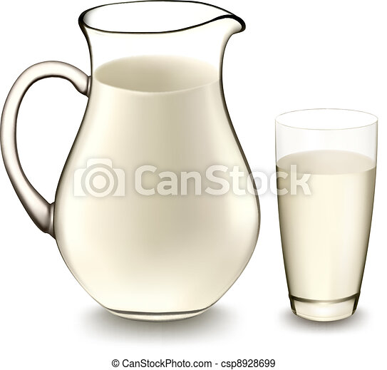 Milk jug and glass of milk. Vector  - csp8928699