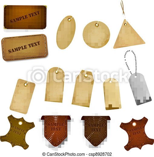 Big set of leather labels and tags. - csp8928702