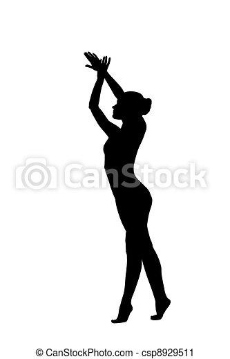 Vektor - fiatal, meztelen, nő, tornász, táncol, Női fehérnemű ...