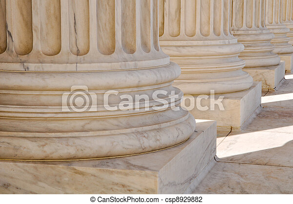 Pillars of Law and Information at the United States Supreme Court in Washington DC - csp8929882