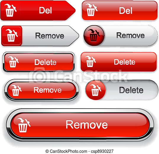 Delete high-detailed web button collection. - csp8930227