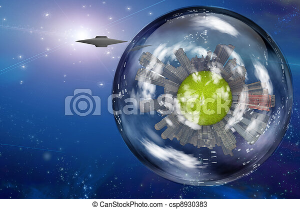 Saucer craft near large interstellar city ship - csp8930383