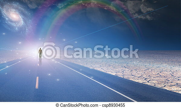 Man bathed in light and roadway - csp8930455