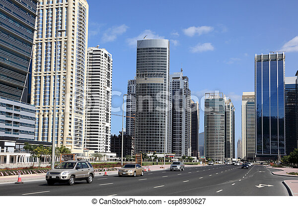 Street at Jumeirah Lakes Towers in Dubai, United Arab Emirates - csp8930627
