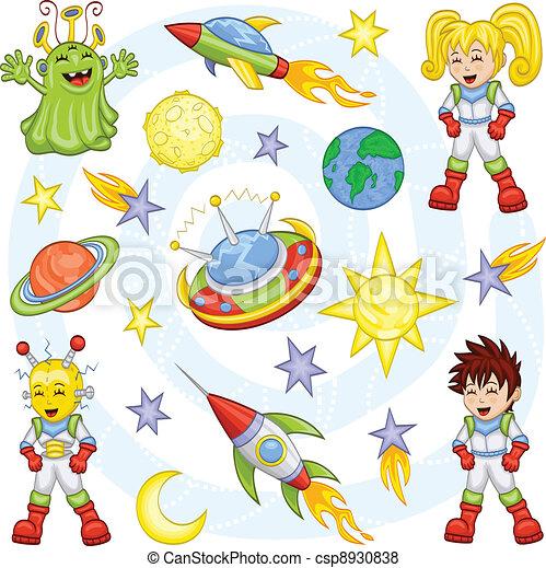 Cartoon outer space set - csp8930838