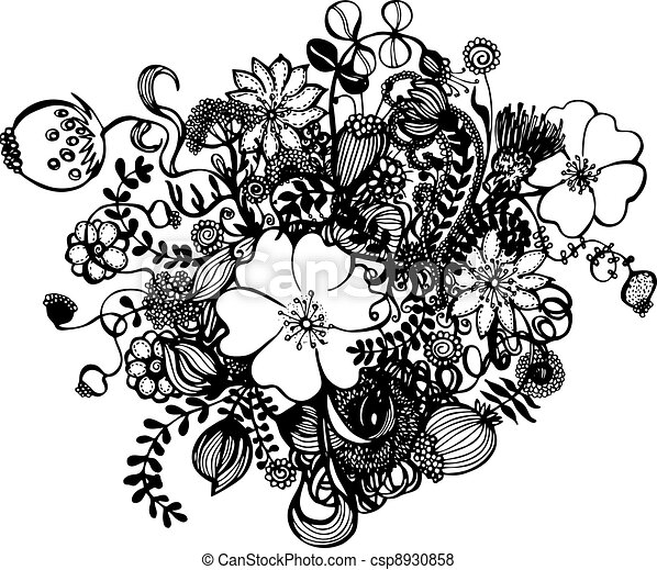 Drawings Of Flowers In Black And White Black and white flowers -