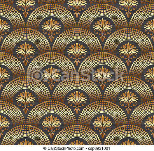 Seamless ornate golden pattern - csp8931001