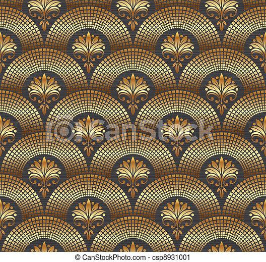 Seamless ornate golden pattern - csp8931001