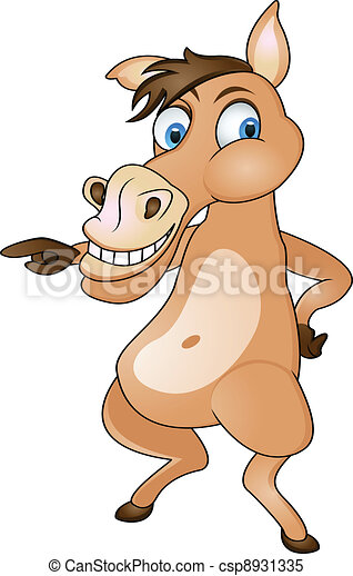 funny horse cartoon - csp8931335