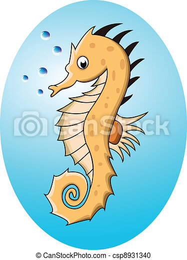 funny cartoon sea horse - csp8931340