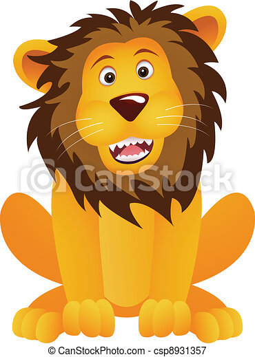funny lion cartoon - csp8931357