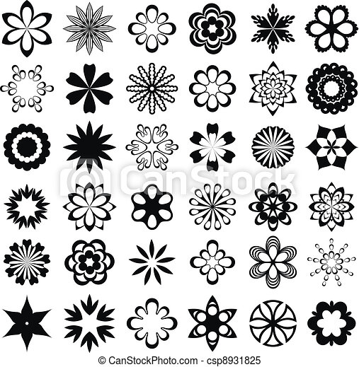 Set of graphical flower elements - csp8931825