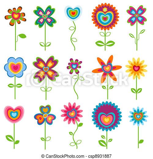 love retro flowers - csp8931887