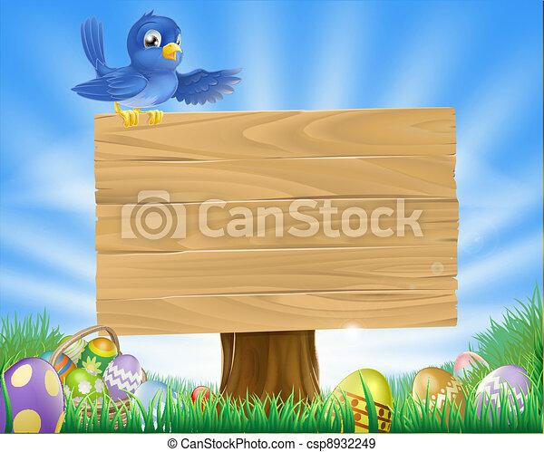 Bluebird Easter cartoon background - csp8932249