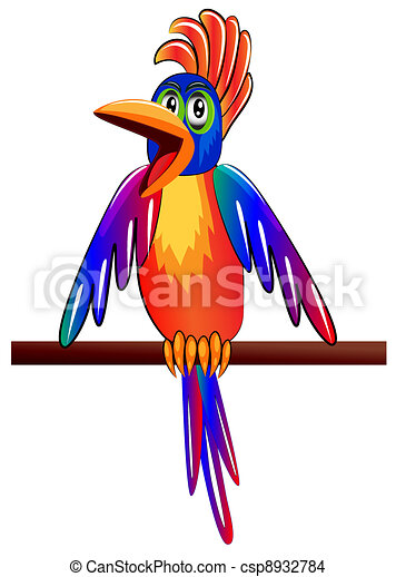 bright parrot yells about news which his(its) worry - csp8932784