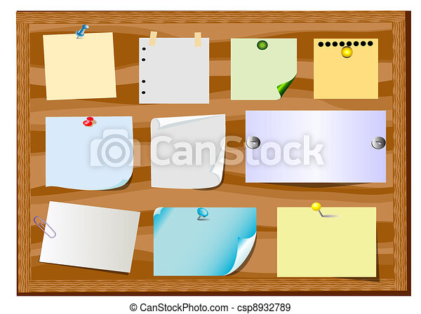 board announcement with slip of paper and office button - csp8932789