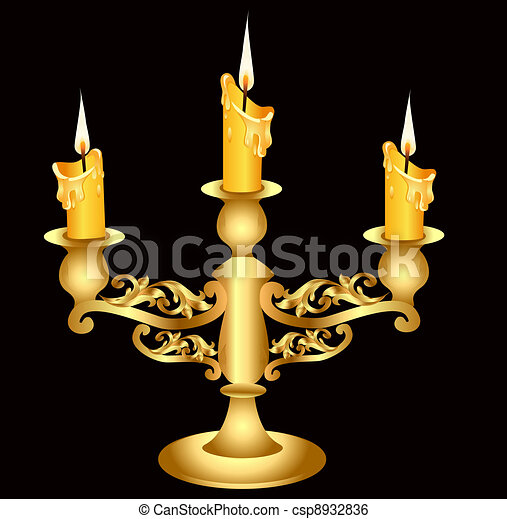 candlestick gold(en) with three burning candle - csp8932836