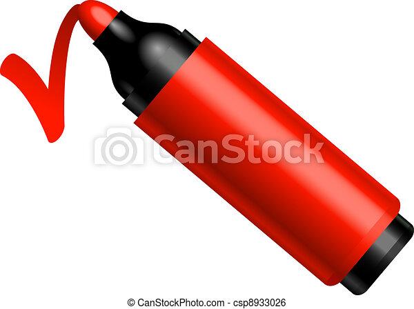 Red pen makes a mark - csp8933026