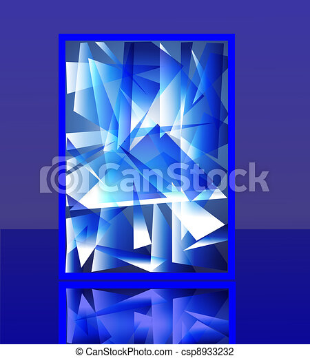 background imitation splinter flow ice with reflection - csp8933232