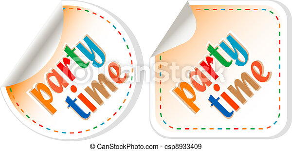 Party time, handwritten label set, isolated in white - csp8933409