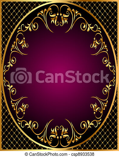 gold(en) frame with gold(en)  ornament and net - csp8933538