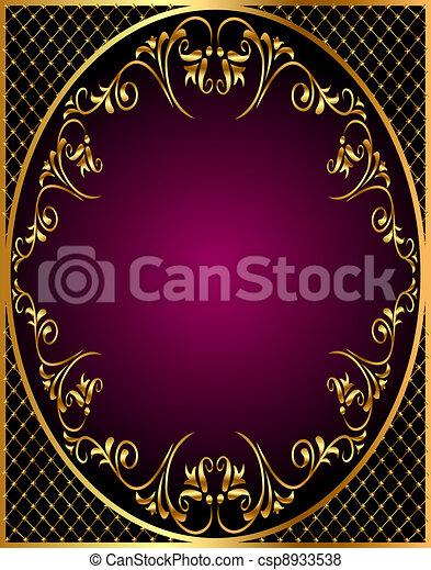 gold(en) frame with gold(en)  ornament and net - csp8933538