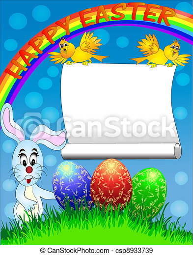 easter background with egg and amusing rabbit and rainbow - csp8933739
