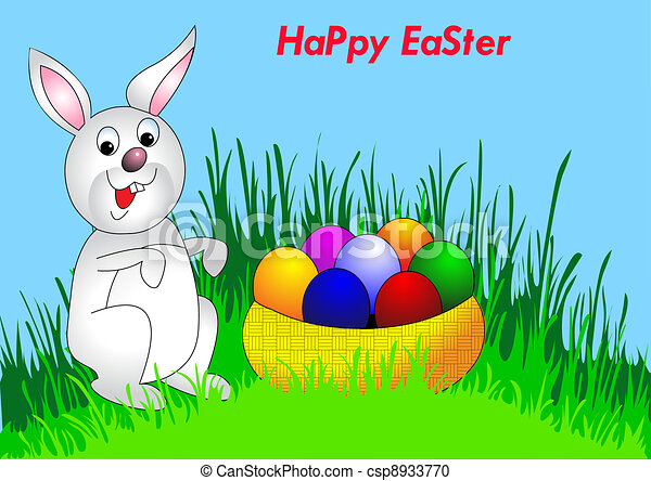 easter background with egg and amusing rabbit - csp8933770