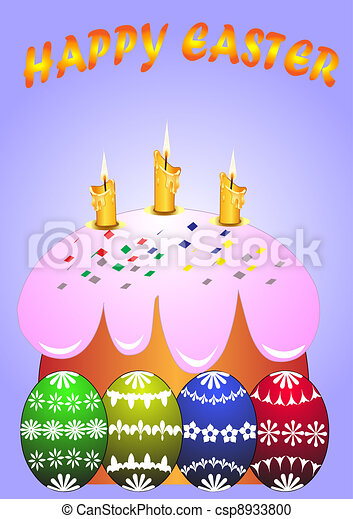 easter fruit cake with burning candle and egg - csp8933800