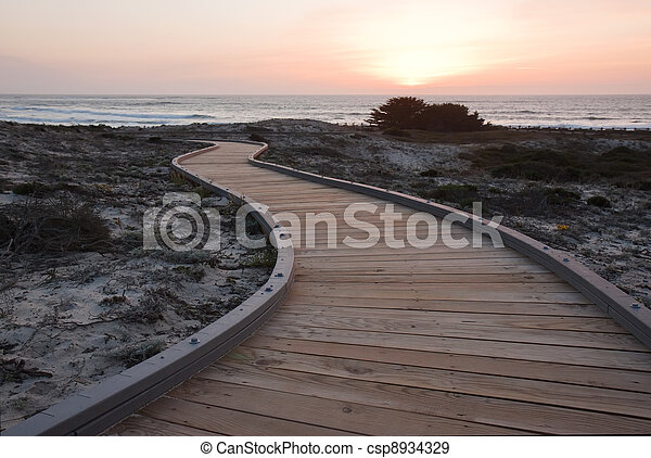Sunset over a walkway through sand dunes at Asilomar State Park - csp8934329