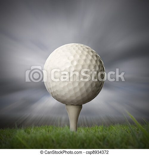 closeup of golf ball on golf tee - csp8934372
