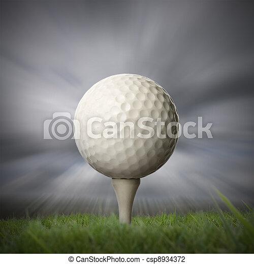 closeup of golf ball on golf tee - csp8934372