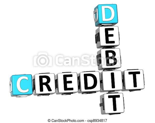 3D Credit Debit Crossword text - csp8934817