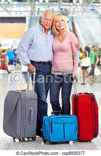 Happy senior couple tourists. - csp8935377
