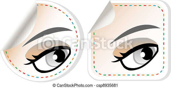 label set woman brown eye with pastel color makeup - csp8935681