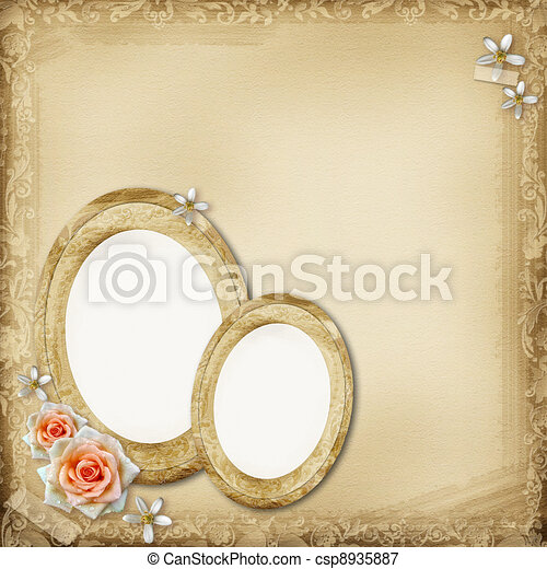 ancient photo album page background with  oval frame and rose - csp8935887