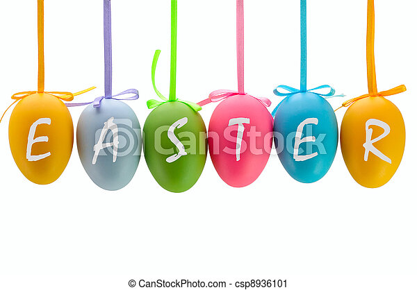 Easter eggs hanging on ribbons. Isolated. - csp8936101