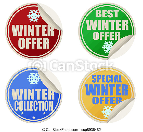 Best winter offers stickers set - csp8936482