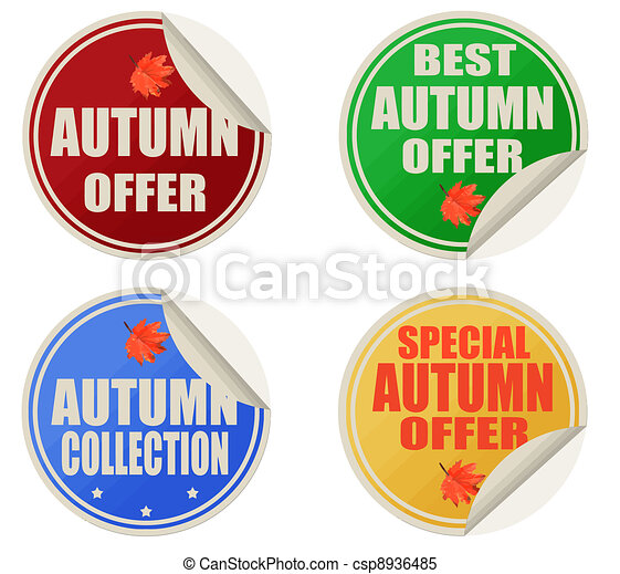 Best autumn offers stickers set - csp8936485