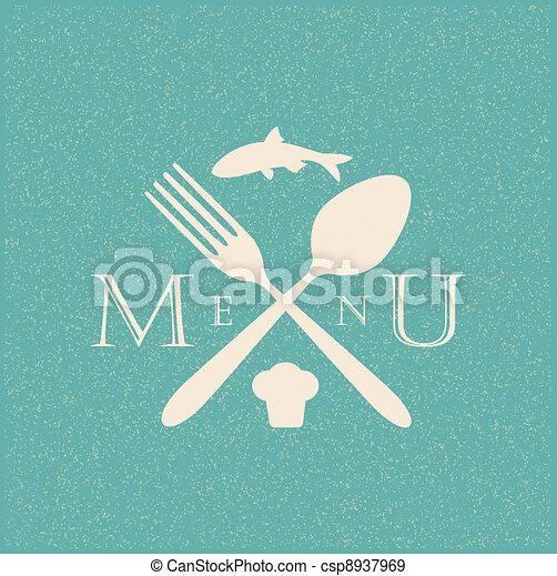 restaurant menu retro poster - csp8937969