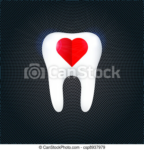 The tooth on the metal background. Vector Illustration - csp8937979