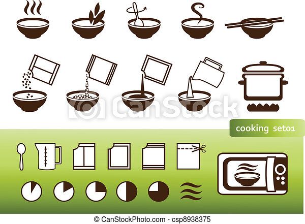 Cooking signs, for manuals on packing - csp8938375