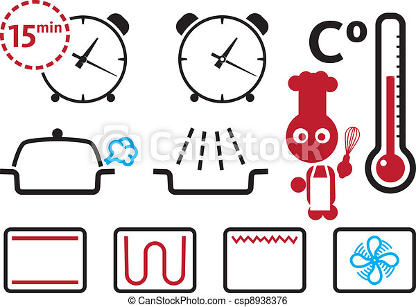 Oven settings and modes signs, icons set - csp8938376